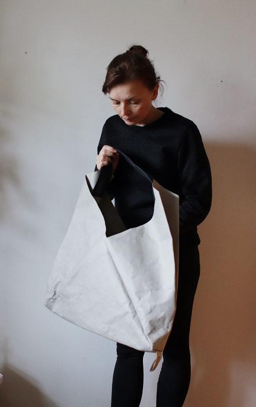 duża torba z papieru z kolekcji origami - szary papier