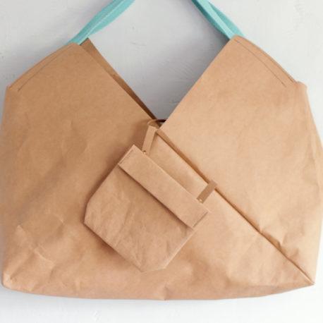 torba z papieru karmelowa z turkusem