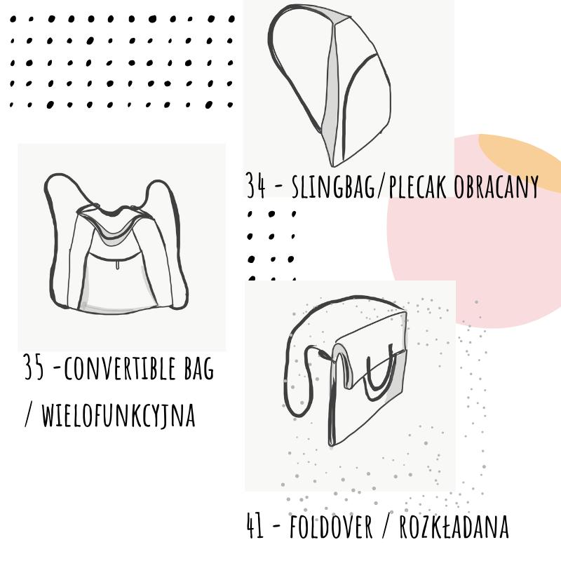 plecaczek, torebka wielofunkcyna i toreba składana