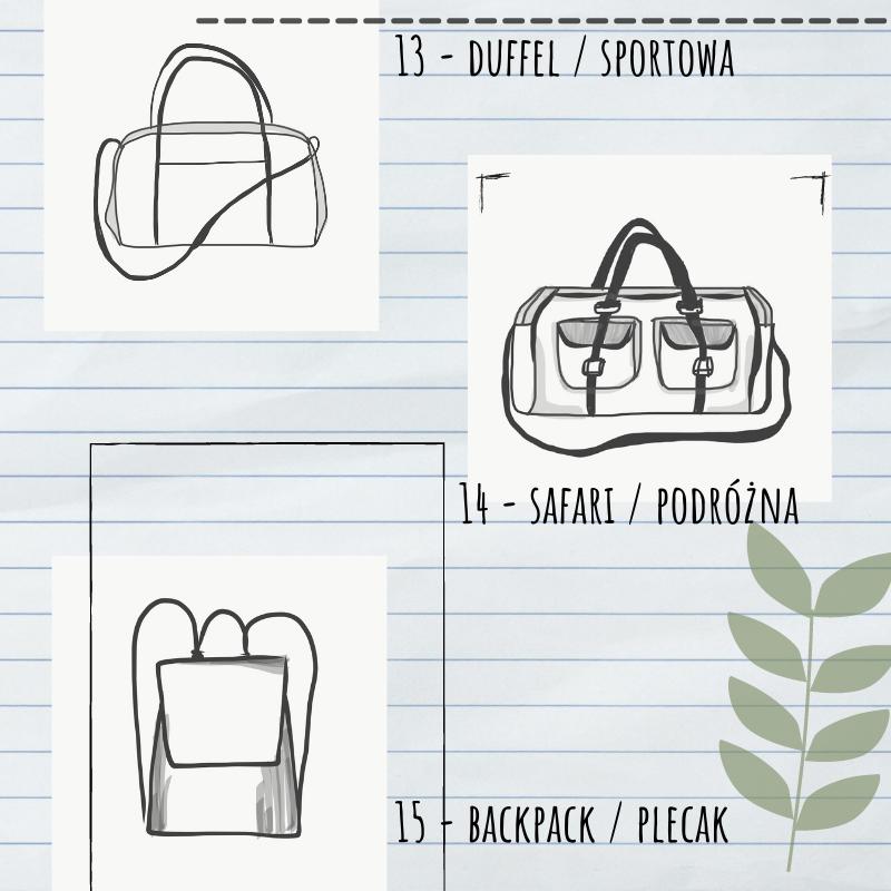 szkic - torba sportowa, podróżna i plecak