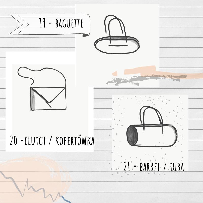 torebka podłużna, kopertówka i tuba