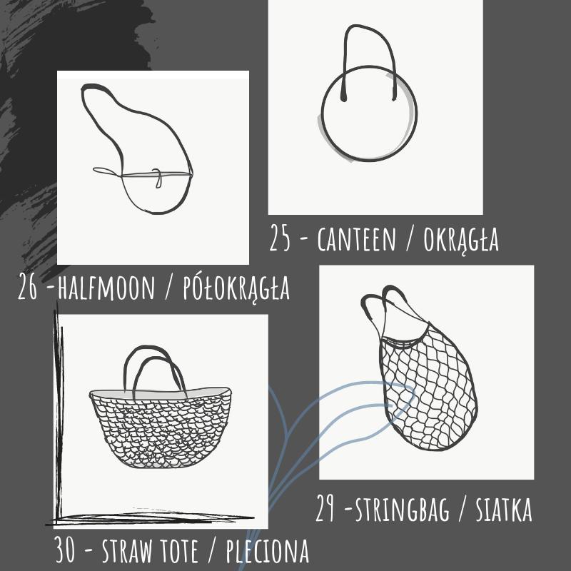 torebka okrągła, torebka półokrągła, pleciona i siatka