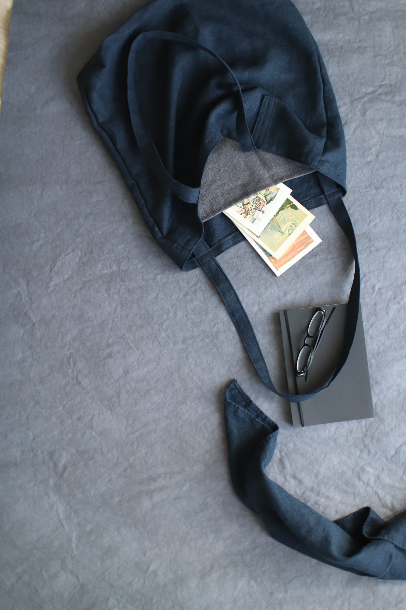 newsletter - torby lniane, naturalne, tutaj - czarna lniana torba