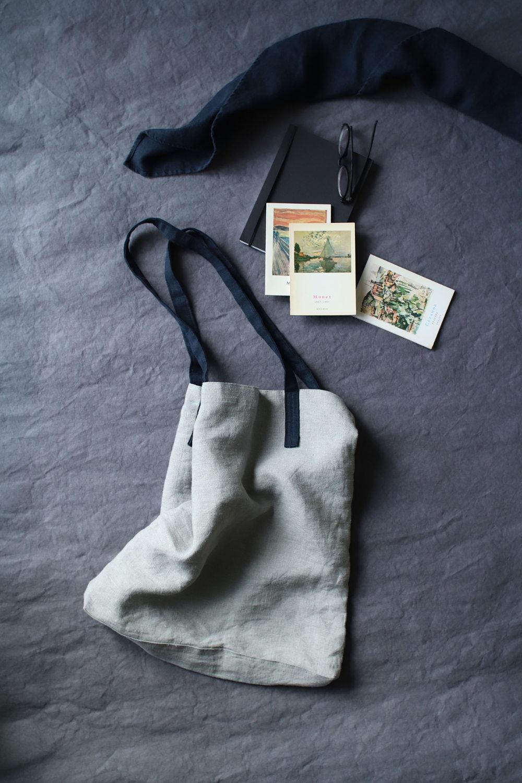 torba lniana naturalna z czarnymi uchwytami